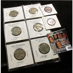 1903 & 06 Indian Head Cents, VG; 1940S, 41P, 47P, 48D, 49D, & 54D Better grade Jefferson Nickels.
