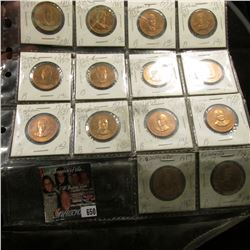 (14) Different Presidential Bronze Medals, all BU and stored in a plastic page.