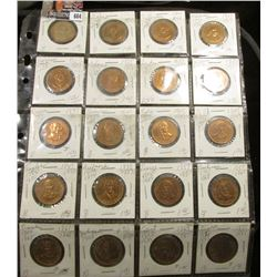 (20) Different Presidential Bronze Medals, all BU and stored in a plastic page.