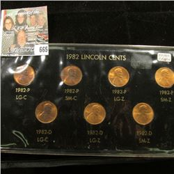 1982 Seven-piece Variety Lincoln Cent Set in black holder with gold lettering. All BU.