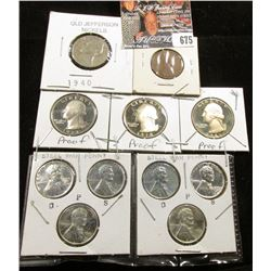 1912 P Cent; (2) Sets of 1943 P, D, S Steel Cents; 1940 P Nickel; 1977 S, 78 S, & 81 S Proof Washing