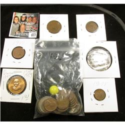 Group of Left overs including a couple of marbles, Missouri Medal, Foreign Coins & Wheat Cents.