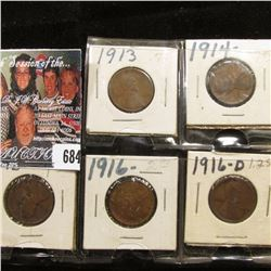 1913P, 14P, 15P, 16P, & D Lincoln Cents, VG-VF.