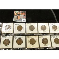 1913P, 14P, 15P, 16D, S, 17P, D, S, 18P, & S Lincoln Cents. Grades up to EF.