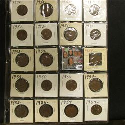 20-Pocket Plastic Page with a collection of (19) Great Britain Half Pennies dated 1950-57.