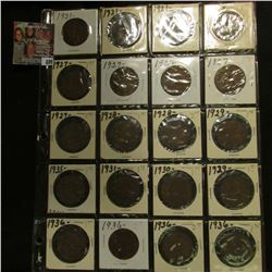 20-Pocket Plastic Page with a collection of (20) Great Britain Pennies dated 1921-36.