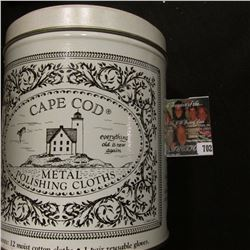 """Cape Cod Metal Polishing Cloths"" Tin; several table boards advertising ""Pusser's Rum""; Coin show ad"