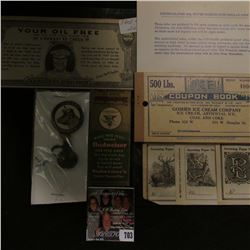 "Match Book Cover ""Budweiser King of Beer""; card ""Uncirculated 40% Silver Eisenhower Dollar Coin""; Ti"
