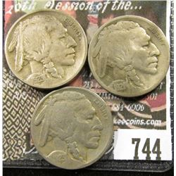 1921 VG, 1923 F & 1923 S VG  Buffalo Nickels.