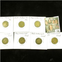 1858 SL Flying Eagle Cent, AG; 1859 Indian Cents, AG; 1860 Good; 1861, Good; 1862, Good; 1863, Good;