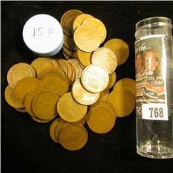 1915 P Solid-date Roll of Lincoln Cents (56 pcs.) Average circulated.