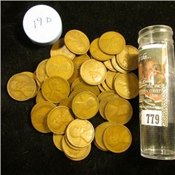 1919 D Solid-date Roll of Lincoln Cents (54 pcs.) Grades up to Fine.