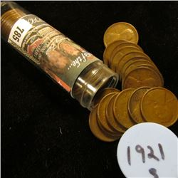 1921 S Solid-date Roll of Lincoln Cents (54 pcs.) Average circulated.