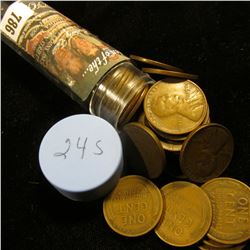 1924 S Solid-date Roll of Lincoln Cents (over 50 pcs.) Grades up to Fine.