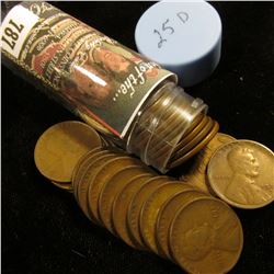 1925 D Solid-date Roll of Lincoln Cents (54 pcs.) Grades up to Fine.