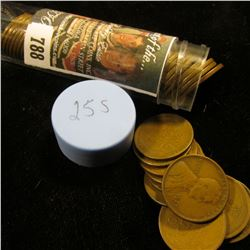 1925 S Solid-date Roll of Lincoln Cents (over 50 pcs.) Grades up to Fine.