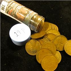 1929 P Solid-date Roll of Lincoln Cents (more than 50 pcs.) Several EF in this roll.