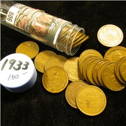 1933 P Solid-date Roll of Lincoln Cents (more than 50 pcs.) Many grade up to EF.
