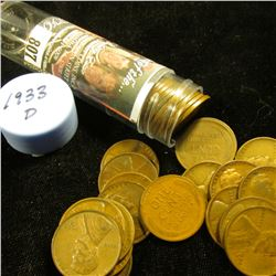1933 P Solid-date Roll of Lincoln Cents (more than 50 pcs.) Many grade up to VF.