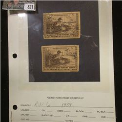 Pair of RW6 1939 Signed U.S. Department of Agriculture Migratory Bird Stamps.