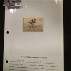 RW7 1940 Signed  U.S. Department of Agriculture Migratory Bird Stamps.