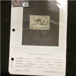RW18 1951 U.S. Department of Agriculture Migratory Bird Stamp. Signed, Fine.
