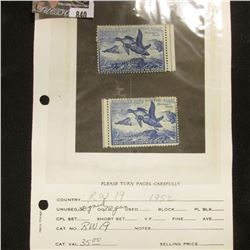 Pair of RW19 1952 U.S. Department of Agriculture Migratory Bird Stamps, one signed, other not signed