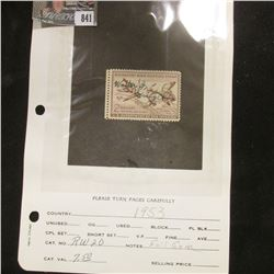 RW20 1953 U.S. Department of Agriculture Migratory Bird Stamp, signed, full gum.