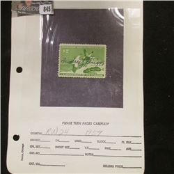 RW24 1957 U.S. Department of Agriculture Migratory Bird Stamp, signed.