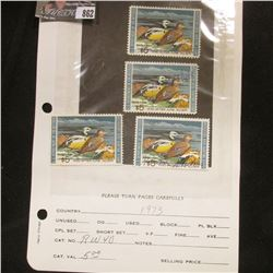 (4) RW40 1973 U.S. Department of Agriculture Migratory Bird Stamps, Fine, signed.
