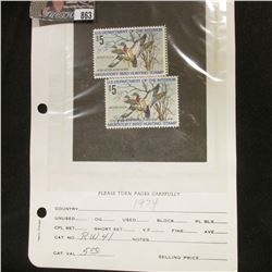 (2) RW41 1974 U.S. Department of Agriculture Migratory Bird Stamps, Fine, signed.
