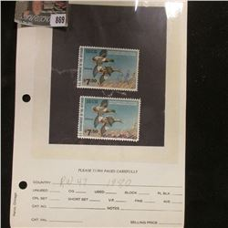 (2) RW47 1980 U.S. Department of Agriculture Migratory Bird Stamps, Fine, signed.