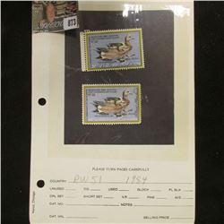 (2) RW51 1984 U.S. Department of Agriculture Migratory Bird Stamps, Fine, signed.