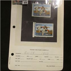 Pair RW54 1987 U.S. Department of Agriculture Migratory Bird Stamps, Fine, signed.