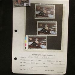 (4) RW58 1991 U.S. Department of Agriculture Migratory Bird Stamps, Fine, signed.