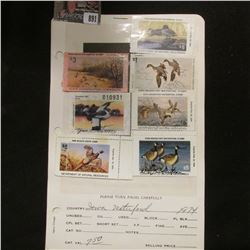 (4) Different Iowa Migratory Waterfowl Stamps & (3) Different Iowa Habitat Stamps, all signed and us