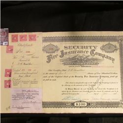 "1928 Six Shares valued at $100 each ""Security Fire Insurance Company Davenport, Iowa"" Certificate wi"