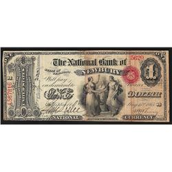 1865 $1 National Bank Newbury State of Vermont Currency Note