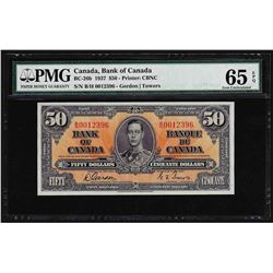1937 $50 Bank of Canada Note PMG Gem Uncirculated 65EPQ