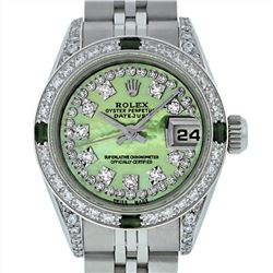 Rolex Stainless Steel Emerald and Diamond Datejust Ladies Wristwatch