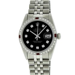 Rolex Mens Stainless Steel Ruby and 1.20ctw Diamond Datejust Wristwatch