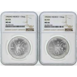 Set of (2) 1992MO Mexico 1 Onza Silver Libertad Coins NGC MS66