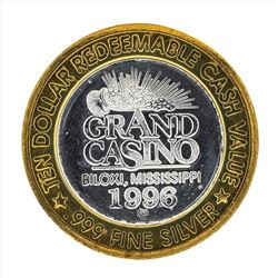 .999 Silver Grand Casino Biloxi Mississippi $10 Casino Gaming Token Limited Edit