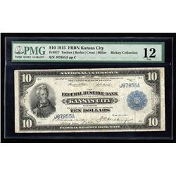 1918 $10 Large Size National Currency Note Kansas City Missouri PMG F12