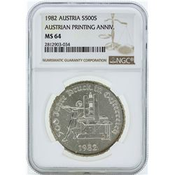 1982 Austria 500 Shillings Silver Coin NGC MS64