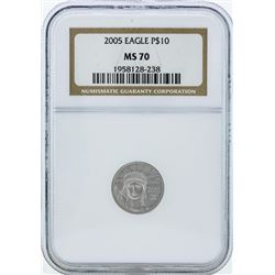 2005 $10 American Platinum Eagle Coin NGC MS70