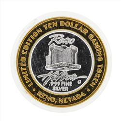 .999 Silver Reno Hilton $10 Casino Gaming Token Limited Edition