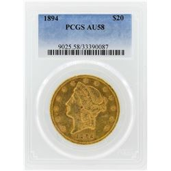 1894 $20 Liberty Head Double Eagle Gold Coin PCGS AU58