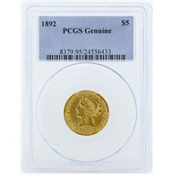 1892 $5 Liberty Head Half Eagle Gold Coin PCGS Genuine