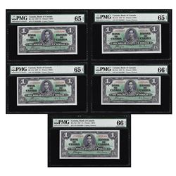 Lot of (5) Consecutive $1 Bank of Canada Note PMG 65/66EPQ